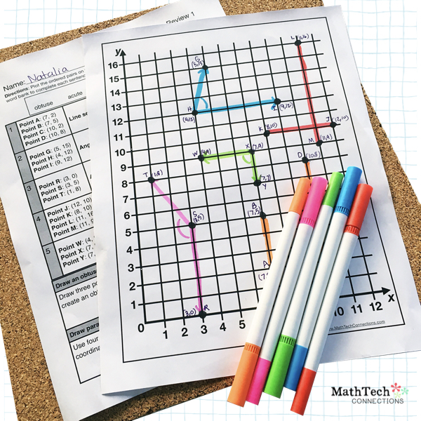 Review Geometry Vocabulary Words with this fun math center activity. Review plotting ordered pairs on a coordinate grid.