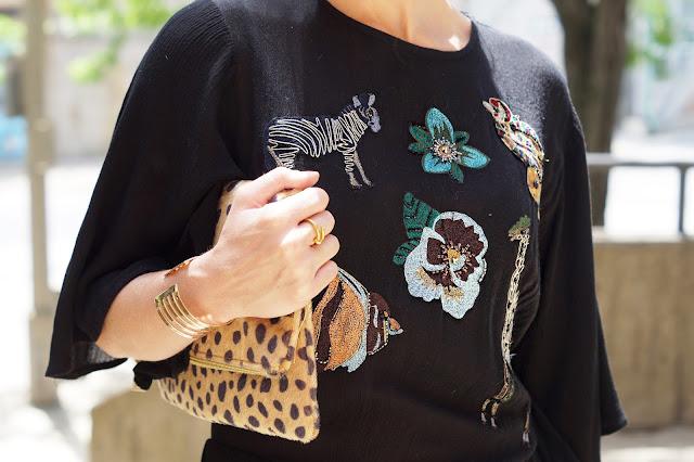 zara embroidered animal print dress