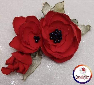 Broszka kwiat maki i anemony w brązach