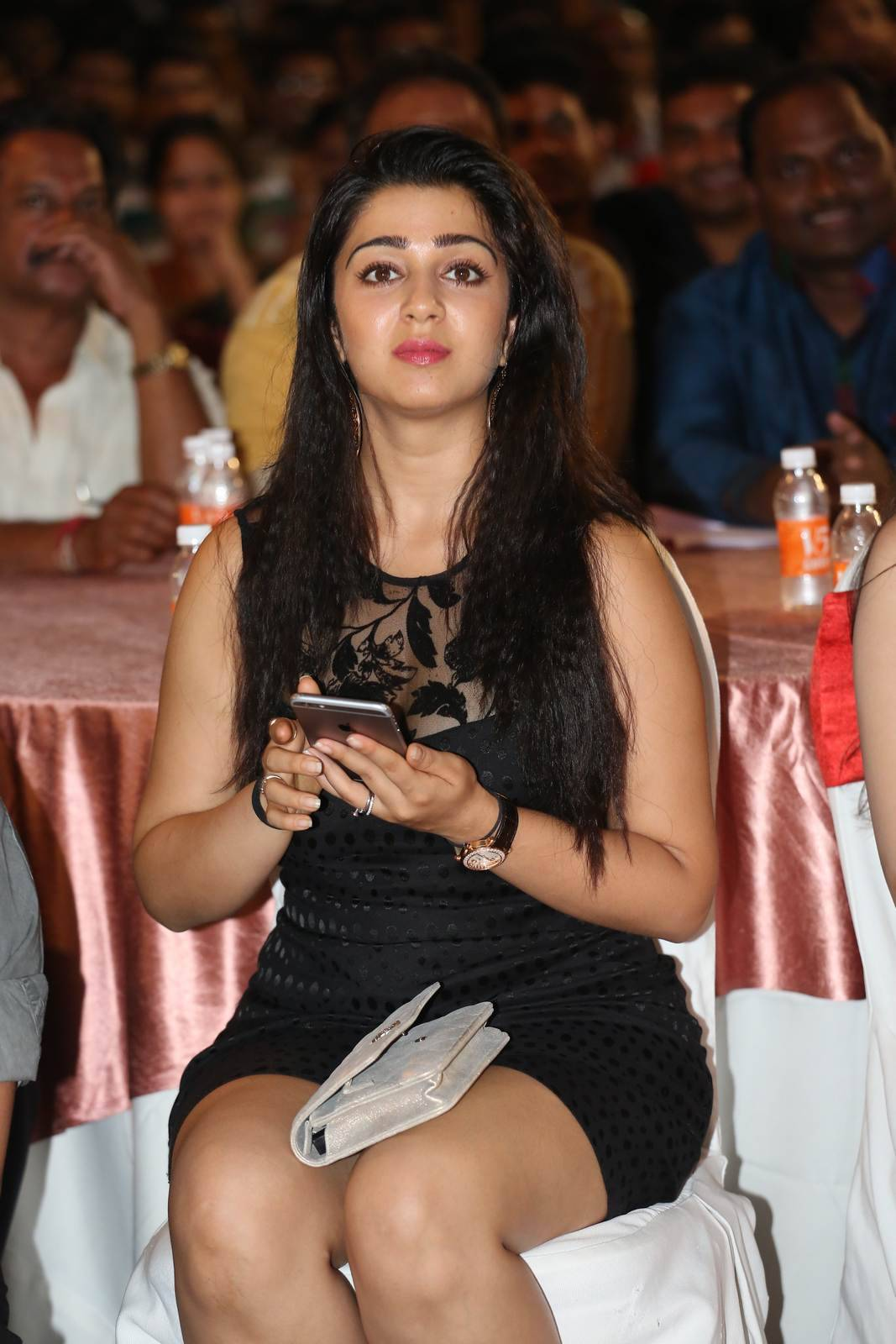 Charmi Pics, Charmee Kaur Pics Clicked in Black Dress at Event