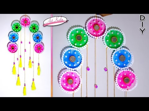 Wall hanging decor from old waste bangles crazzy craft for Wall hanging with waste material