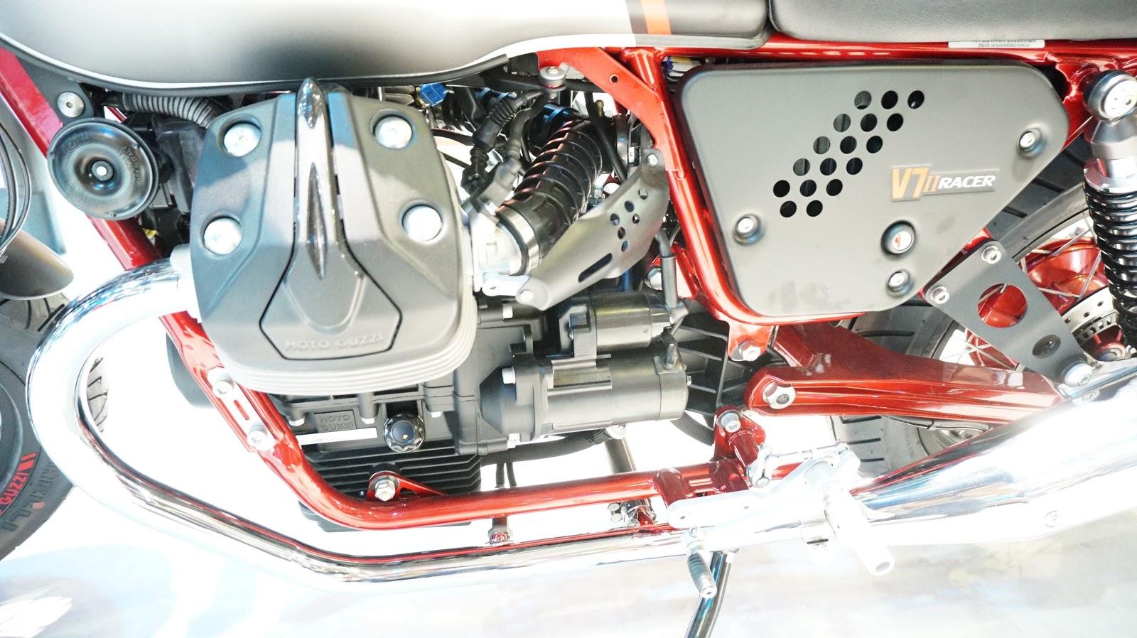 Khối động cơ của Moto Guzzi V7 II khá vừa phải, phù hợp mọi công việc, nẻo đường