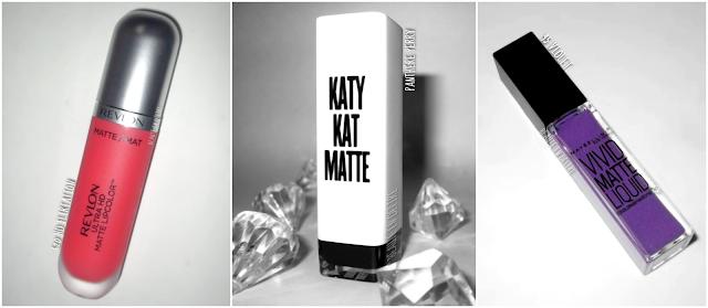 Rouge à lèvres liquide matte: Revlon Ultra HD matte lipcolor, Katy Kat Matte de Covergirl et Vivid Matte de Maybelline.