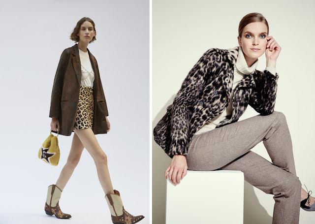Короткая леопардовая юбка с коричневым жакетом, леопардовое пальто с серыми брюками