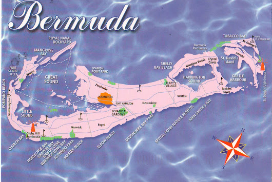 Map postcard from Bermuda