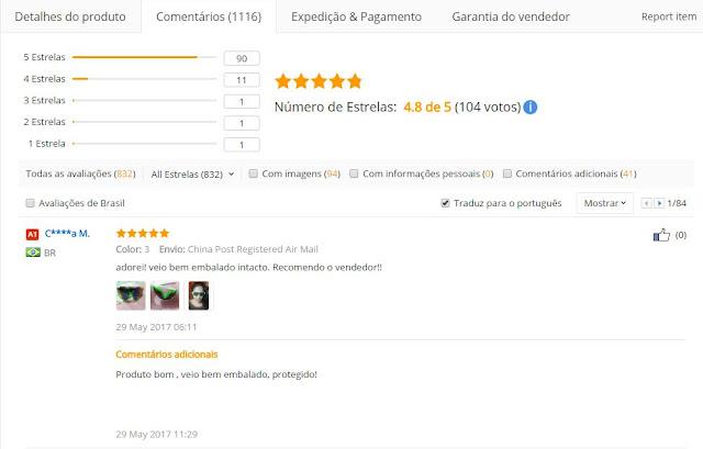 comentários dos consumidores no AliExpress