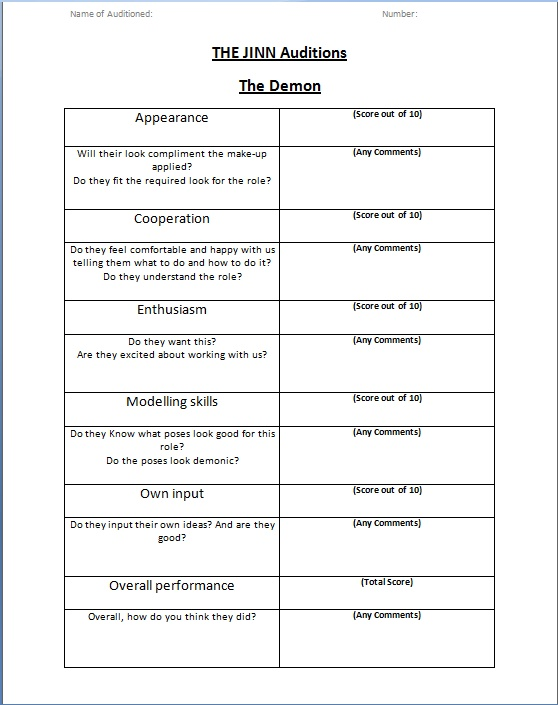A2 Media Studies Demon audition forms and questions