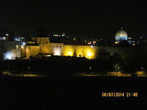 Night view of walls of Jerusalem, Dung Gate and Dome of the Rock Mosque in Jerusalem, Israel.