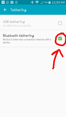 Turn on bluetooth tethering