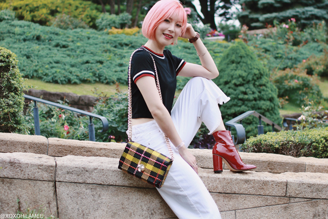Japanese Fashion Blogger,MizuhoK<20190623OOTD, SheIn= Tee, ZARA= white denim pants, red enamel boots, bag, Andreas Ingeman = watch, and more...