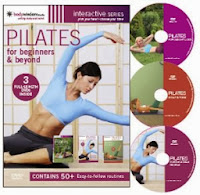 What is Pilates and its health benefits. PIlates at home on mats following a DVD workout to help strengthen and stretch the body, align the spine. Helps with back, joint, muscle pain, flat stomach.