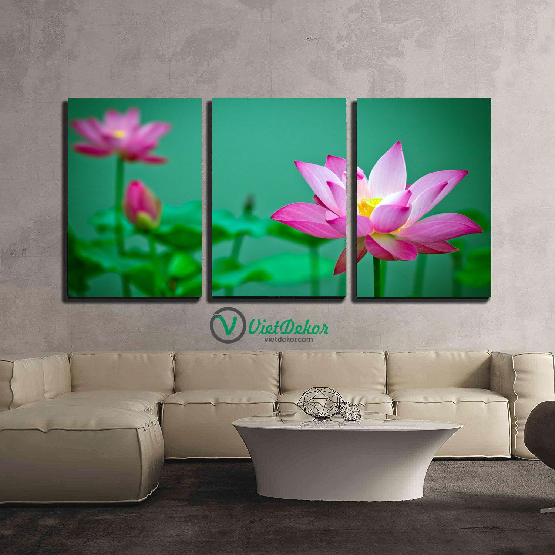 Tranh treo tường bộ 3 hoa sen