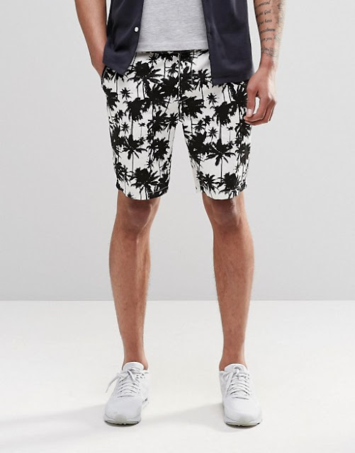 look masculino com short estampado