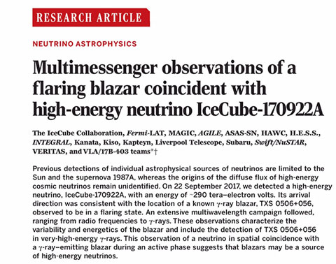 Multi-messenger announcement for detection of neutrinos and gamma rays (Source: Science, 361, 13 July 2018)