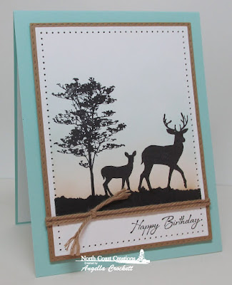 North Coast Creations Deer Silhouette Greetings, ODBD Custom Double Stitched Rectangles Dies, ODBD Custom Rectangles Dies, Card Designer Angie Crockett