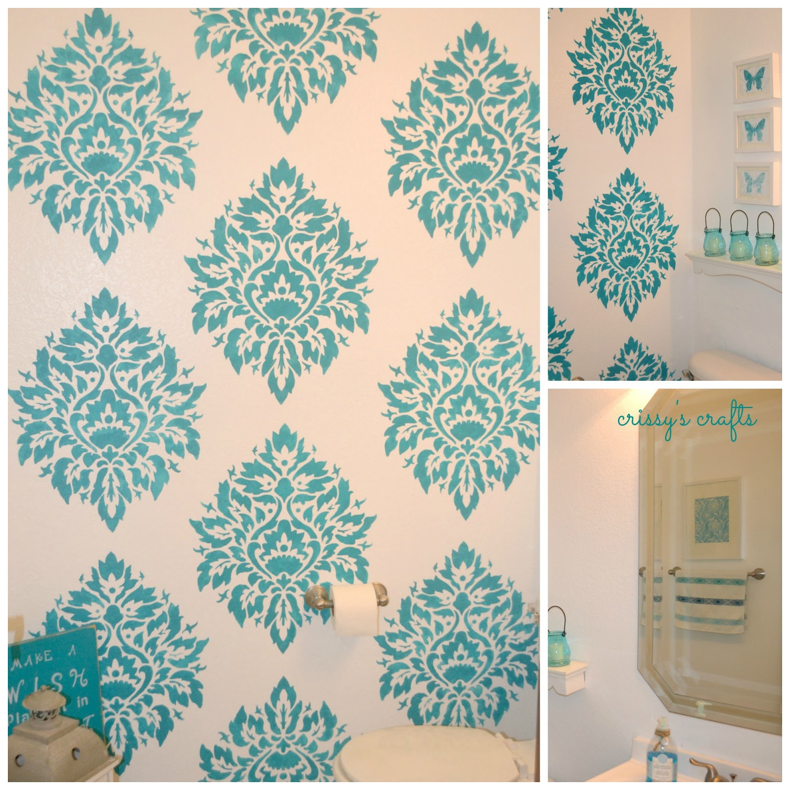 Stenciled Accent Wall: Crissy's Crafts: Powder Room Stenciled Accent Wall