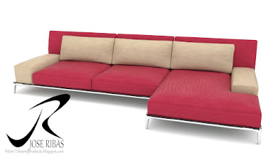 Sofa modelo DissenyProducte Rojo