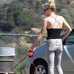 Yvonne Strahovski take the dog for walk in tight pant