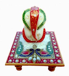 Marble Chowki Ganesh Chitra Handicraft