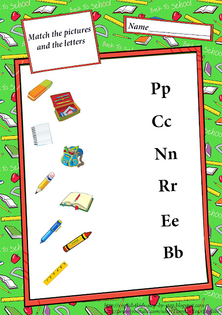 match the names of school objects with corresponding letters esl worksheet