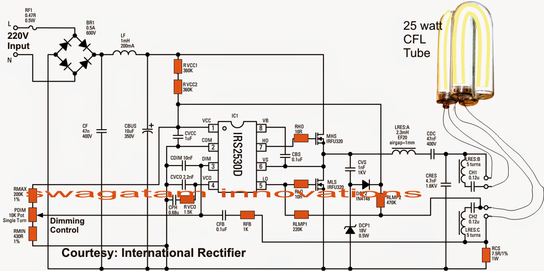 Single Chip Electronic Ballast Circuit with Dimmable