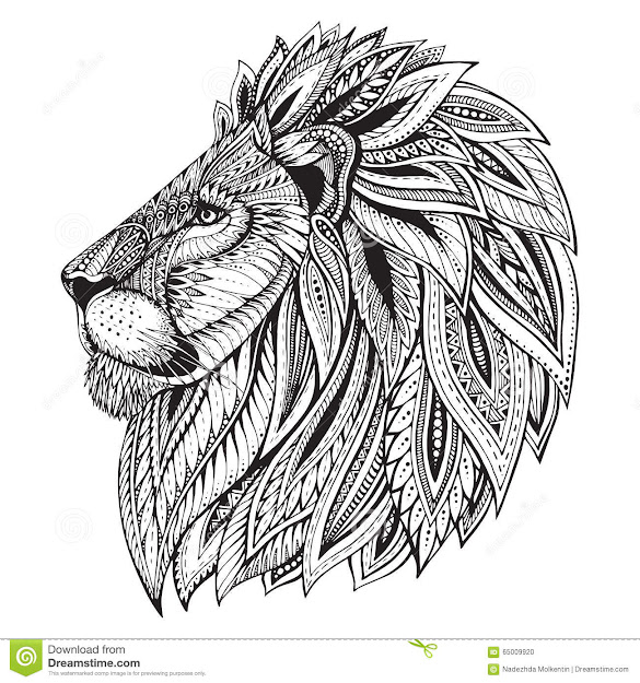 Ethnic Patterned Ornate Hand Drawn Head Of Lion Stock Illustration