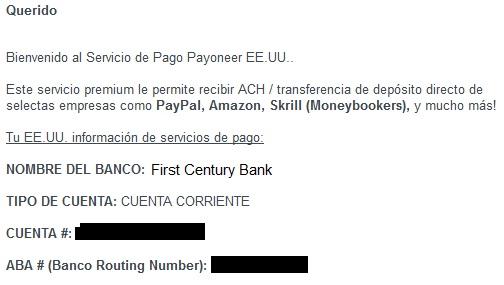 Tarjeta Débito MasterCard PaYoneer