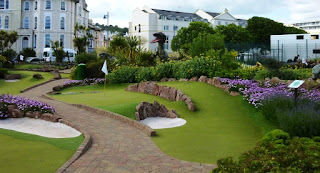 The Dinosaur Adventure Golf course at The Den on Teignmouth Sea Front in Devon