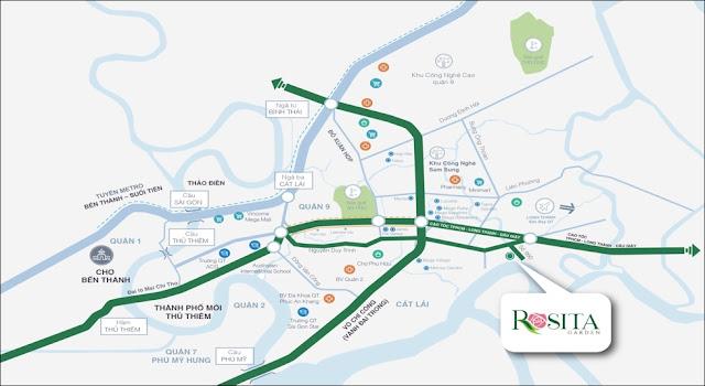 Vị trí nhà phố biệt thự Rosita Garden Khang Điền Quận 9