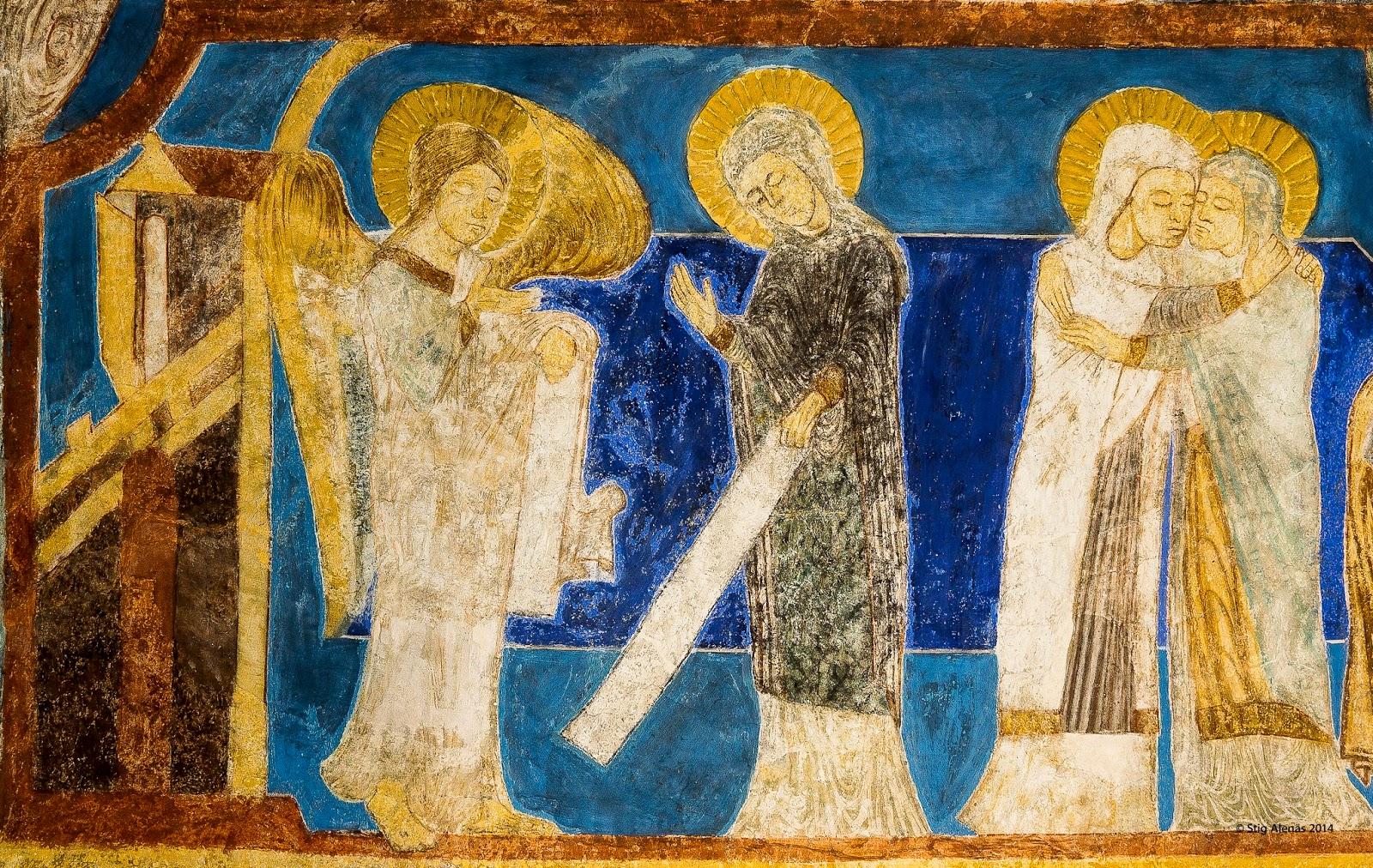 medieval, archangel, annunciation, mural, incarnation, virgin, saint, gabriel, angel, paint, editorial, sweden, church, bible, christ, ultramarine, fresco, holy, religion, byzantine, elizabeth, visitation, christianity, mary, romanesque, bjaresjo, https://www.shutterstock.com/image-photo/annunciation-angel-gabriel-tells-mary-that-531577648