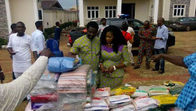 Nigeria actress Mercy Johnson and her husband Prince Odianosen Okojie Celebrated Easter With Widows and less privilege
