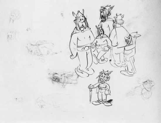 Astérix and Obélix, early sketches by Albert Uderzo