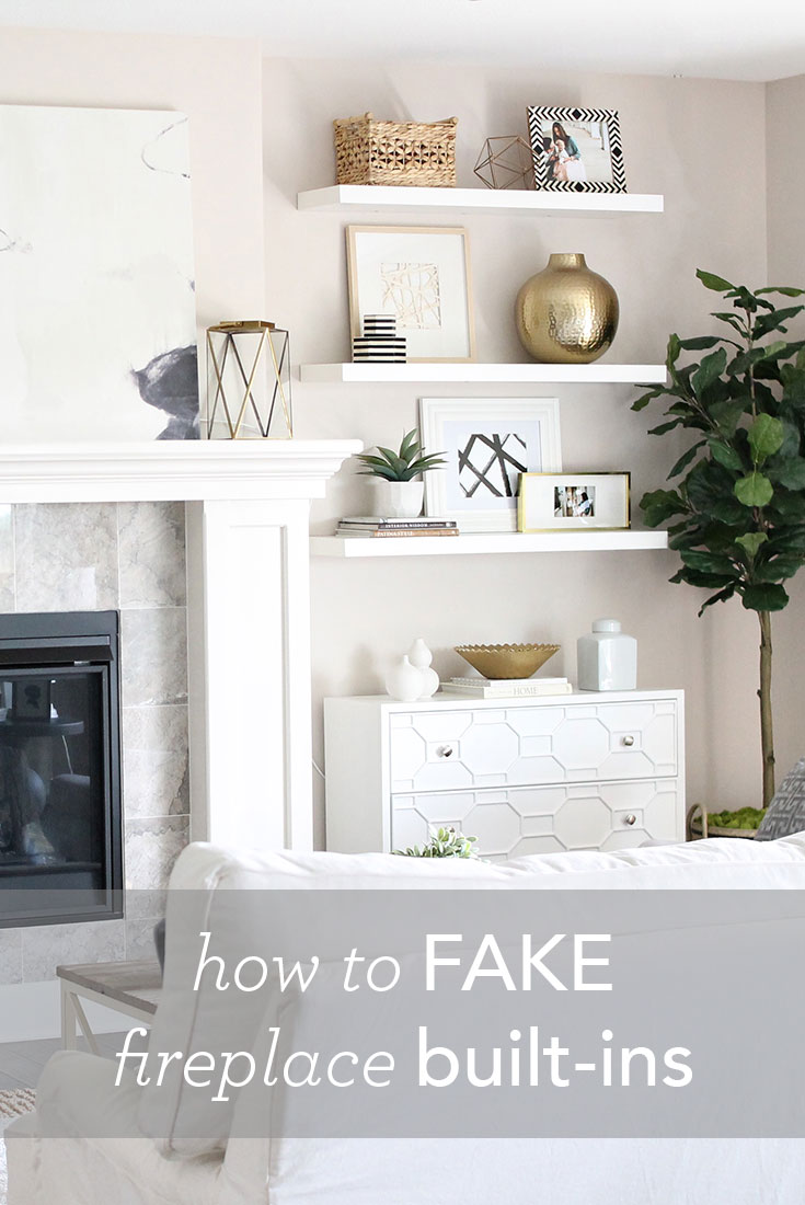 12th and white living room reveal how to fake built in shelving