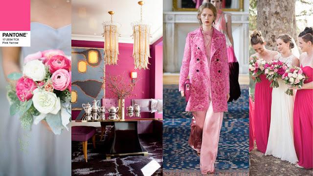 Цвет Pantone 2017 года Pink Yarrow в одежде и интерьере