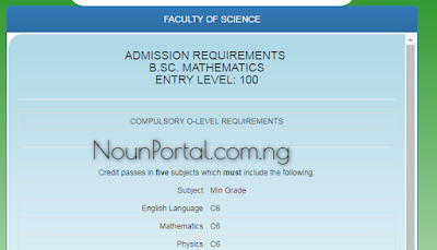 NOUN Admission Requirements - B.Sc. Mathematics
