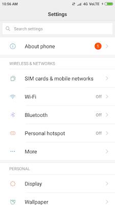 Redmi Note 5 Pro Settings