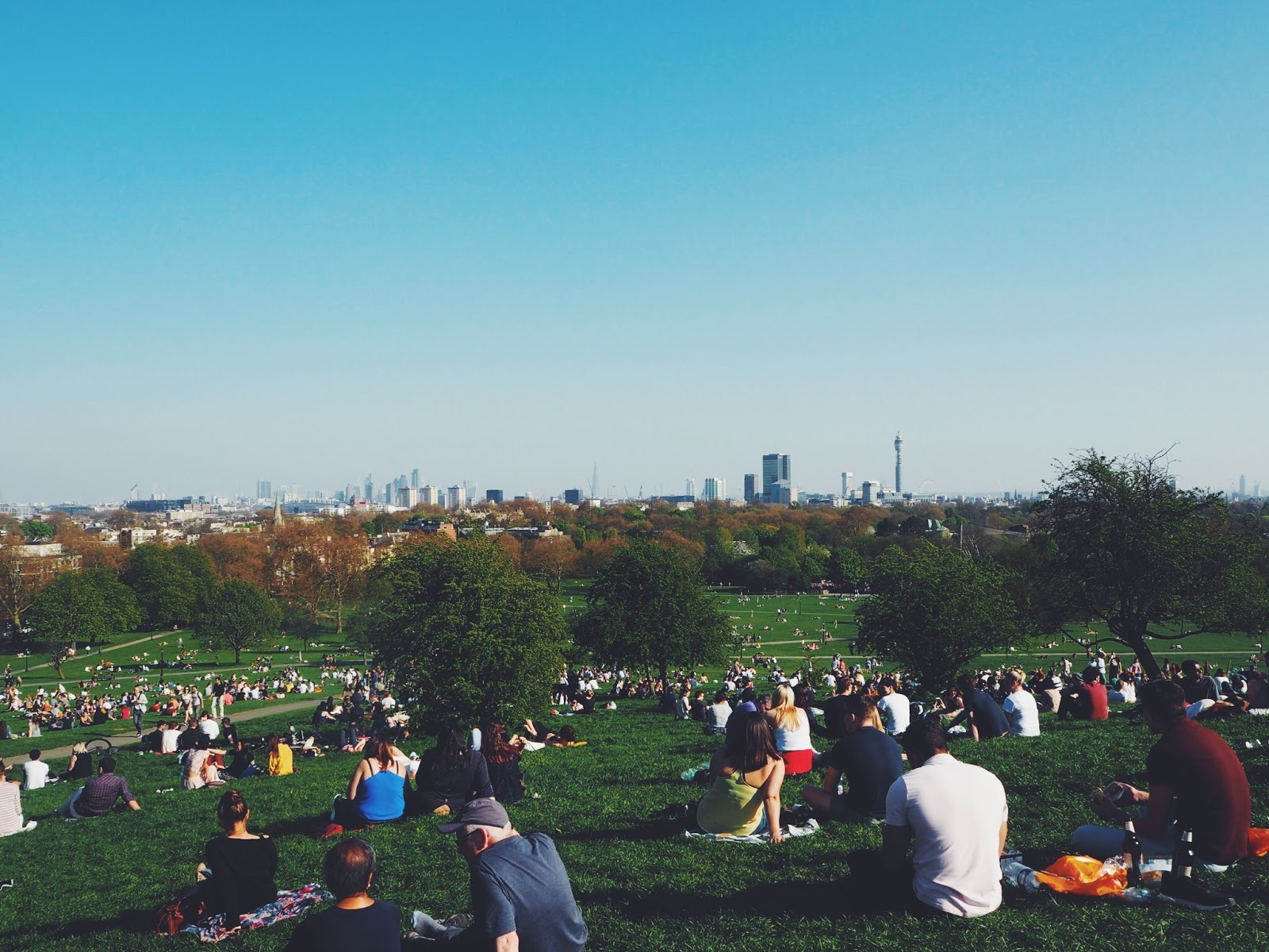 Primrose Hill chalk farm london skyline view of London sky bloggers
