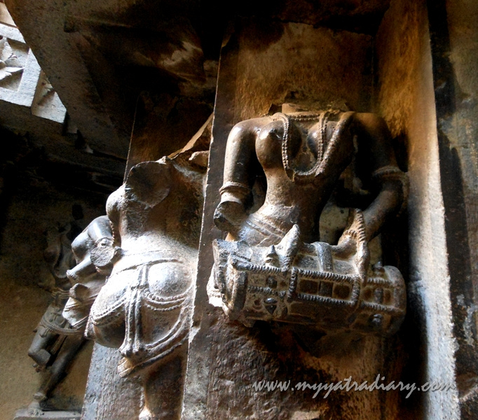 Ancient sculptures at the walls of Bhuleshwar Shiva Temple near Yavat, Pune