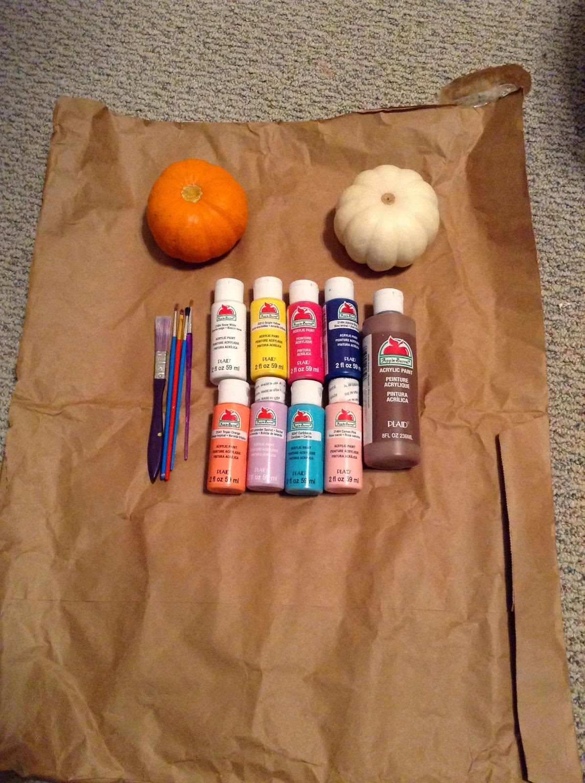Pumpkins White And Orange You Can Use Any Size But Smallish Ones Work Best Paint Brushes Smaller Tipped