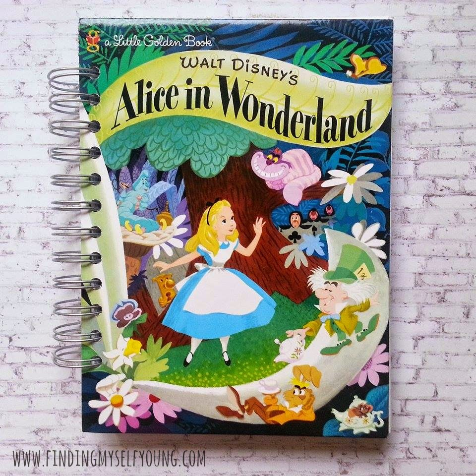 Alice in wonderland little golden book re-purposed golden journal