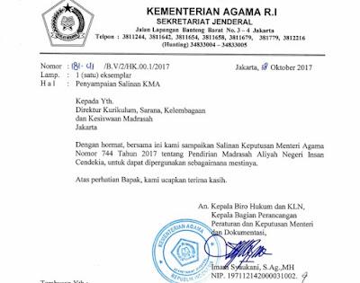 KMA 744 Tahun 2017 Tentang  Pendirian Madrasah Aliyah Negeri Insan Cendekia (MAN IC)