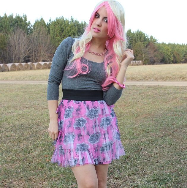 Pink And Blonde Wig