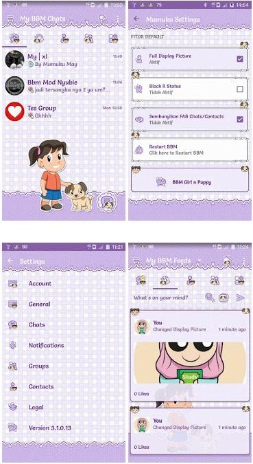 BBM Mod Girl n Puppy v3.1.0.13 Apk | Tema Lucu