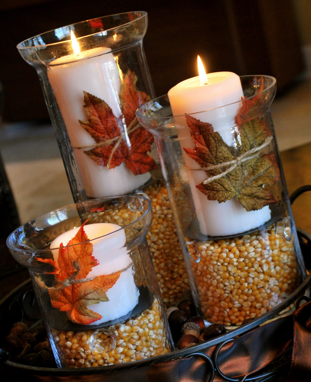 20 Dollar Thanksgiving Decorations Candles In Hurricanes With Popcorn Kernels And Wred Leaves Twine