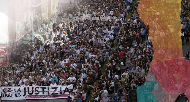 Una marea de 60.000 manifestantes desbordan las calles de Altsasu clamando justicia