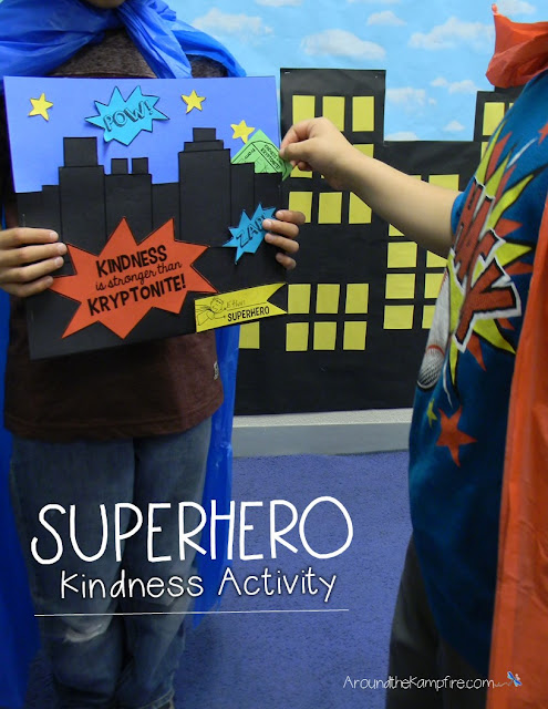 An end of the school year activity: Superhero Kindness Activity~Fill a friend's city with kind words of Kryptonite!