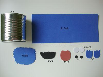 Estas son las piezas y las medidas para decorar la lata con el monstruo de las galletas