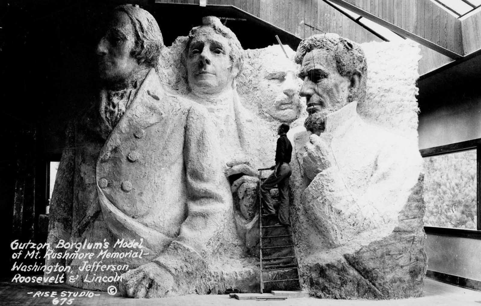 Borglum's mode of Mt. Roushmore Memorial. 1933.