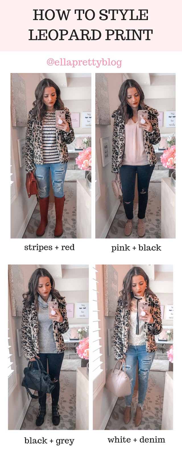 How to style a leopard print coat jacket blogger outfit plaid scarf red rainboots  stripes pink black grey white distressed jeans denim outfit inspiration