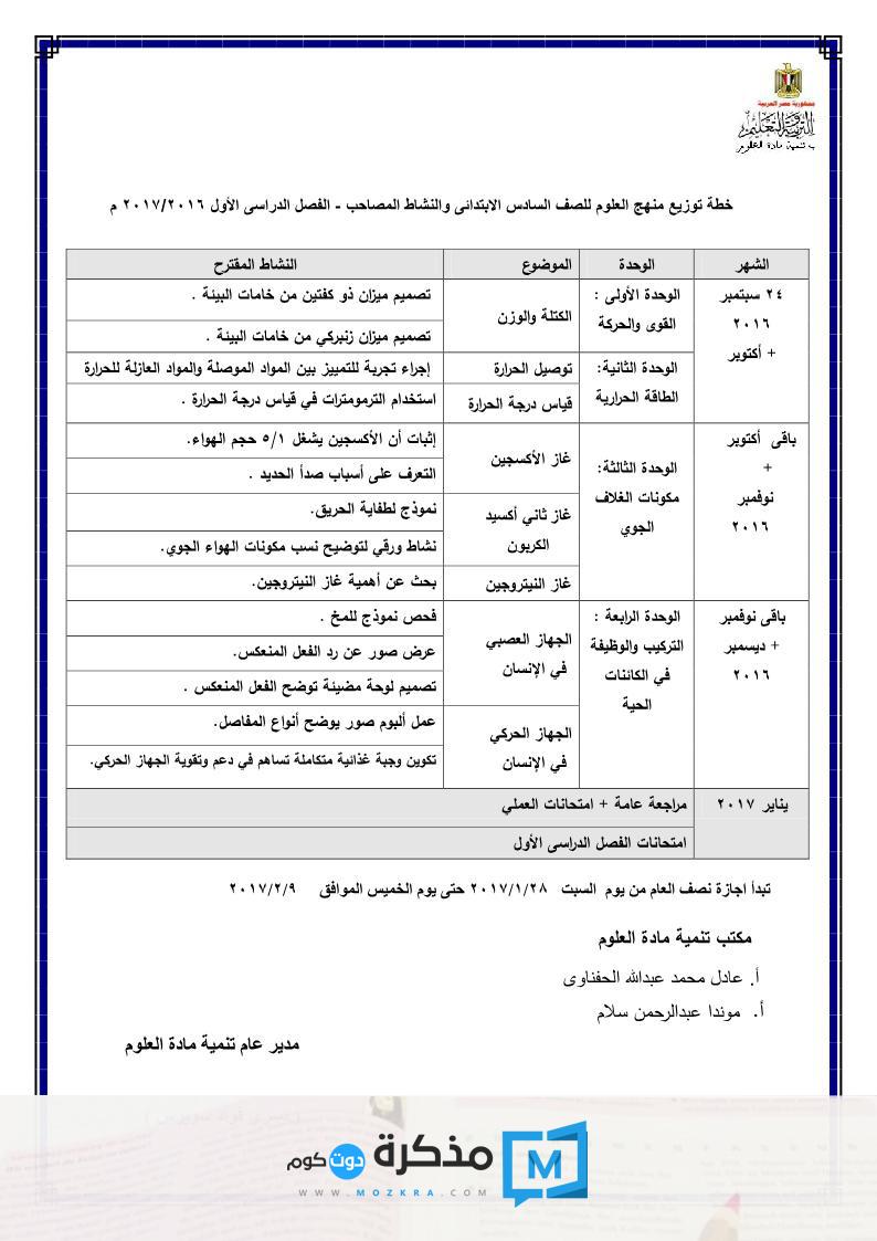 توزيع منهج العلوم للصف الخامس الإبتدائي 2016/2017 الترم الأول